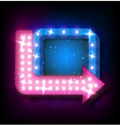 Neon sign with arrow vector