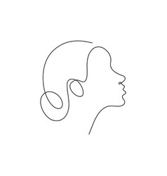 one line woman head design silhouettehand drawn vector image