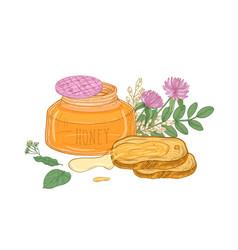 Opened glass jar organic honey pair bread vector