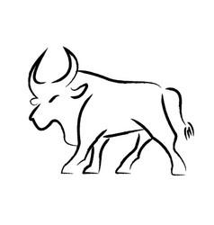 Outline draw bull vector
