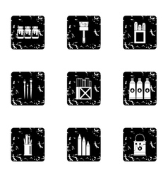 Painting icons set grunge style vector