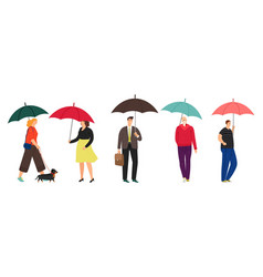 people characters with umbrella vector image