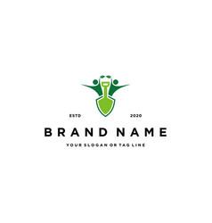 People logo design shovel and farm plant vector