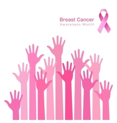 Pink ribbon breast cancer awareness people hands vector