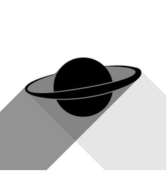 planet in space sign black icon with two vector image