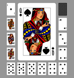 Playing cards of spades suit and back on green vector