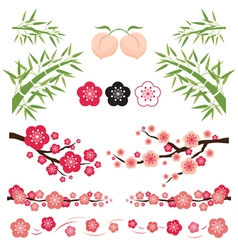 Plum Blossom and Bamboo Ornament vector image