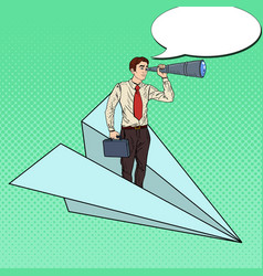Pop art businessman flying paper plane vector