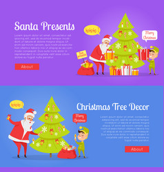 poster of santa presents and xmas tree decor vector image