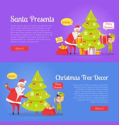 poster of santa presents and xmas tree decor vector image