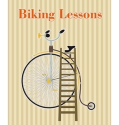 Poster with vintage bicycle vector image