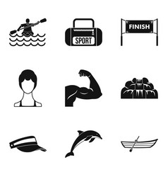 Rafting icons set simple style vector