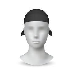 Realistic black bandana textile headwear on 3d vector