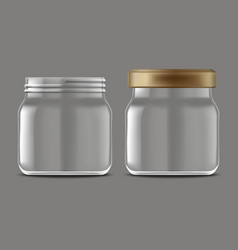 realistic detailed 3d empty jam glass jar set vector image