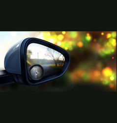 Rear view mirror with glass for blind spot vector