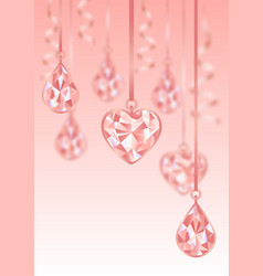 romantic template wiht pink diamonds and blur vector image