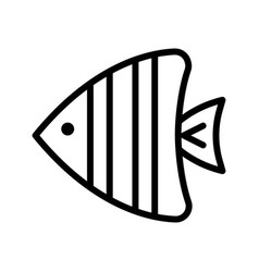 Sea fish tropical related line style icon vector