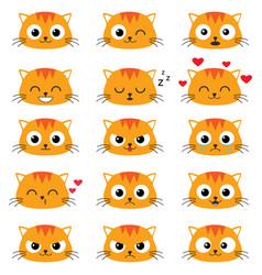 set cute cartoon cat emotions vector image