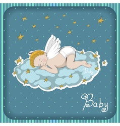 sleeping angel on the cloud vector image