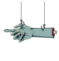 Style of a comic zombie hand hanging on hooks vector
