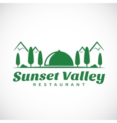Sunset or Sunrise Valley Abstract Logo Template vector