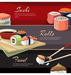 Sushi rolls flat food web banners vector