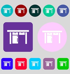 Table icon sign 12 colored buttons Flat design vector image