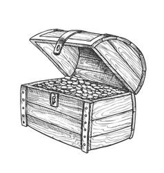 Treasure chest heap golden coins vintage vector