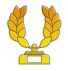 trophy wreath leafs crown award vector image