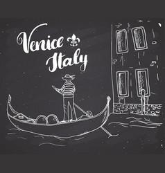 Venice italy hand drawn sketch doodle gondolier vector