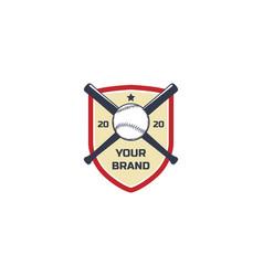 vintage retro shield with crossed bat vector image