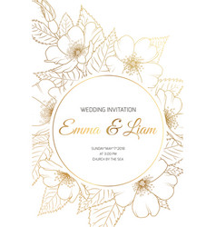 Wedding invitation card wild rose cherry sakura vector