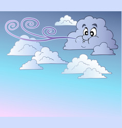 Windy sky with cartoon clouds vector