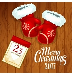 Xmas card with santas glove on wooden background vector image