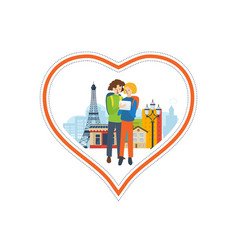 Concept - a trip to france love city vector