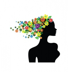 floral girl silhouette vector image