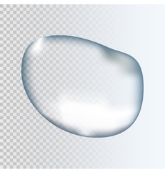 Realistic pure transparent water drop with shadow vector image