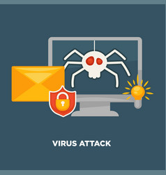 virus attack on computer in cartoon flat style vector image