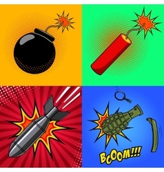 Cartoon bomb dynamite stick grenade with fire vector image vector image