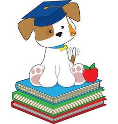 cute puppy graduate vector image vector image