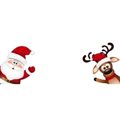 Funny Santa and Reindeer vector image vector image