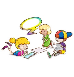 Kids studying with an empty callout template vector image vector image