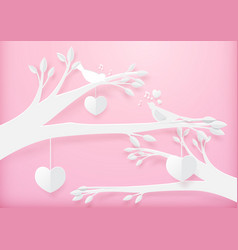 paper art cute heart shape mobile hanging vector image