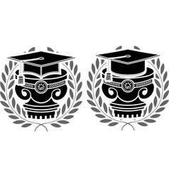 pedestals of square academic caps vector image vector image