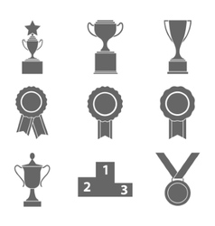 Set of award success and victory icons with vector image