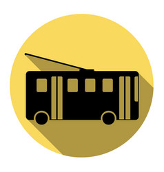 trolleybus sign flat black icon with flat vector image