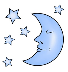 Blue moon and stars vector image vector image