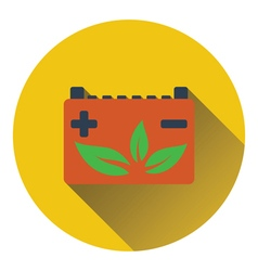Car battery with leaf icon vector image vector image