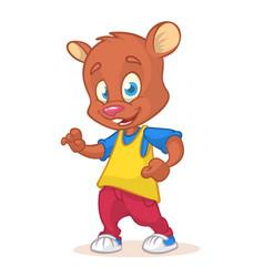 cartoon bear dancing vector image