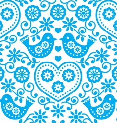 Folk art seamless blue pattern with flowers vector image